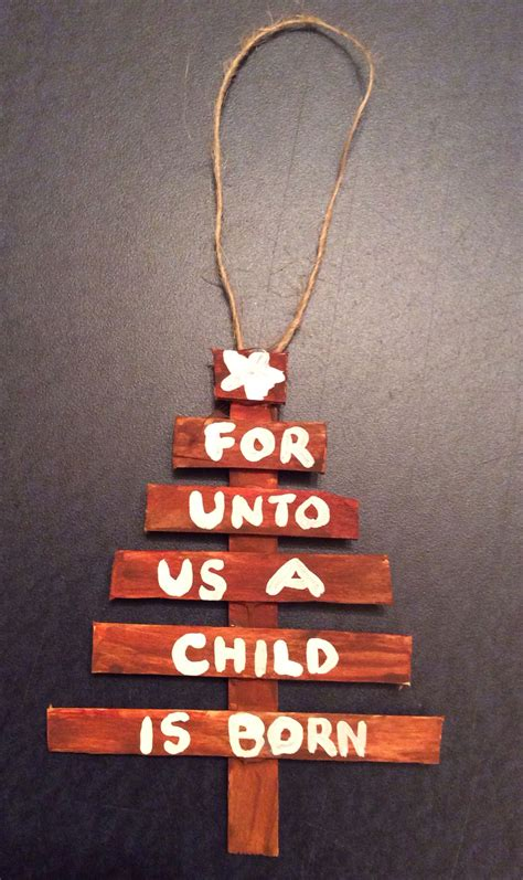bible christmas crafts for kids popsicle stick tree ornament isaiah s prophecy about jesus made these unpainted