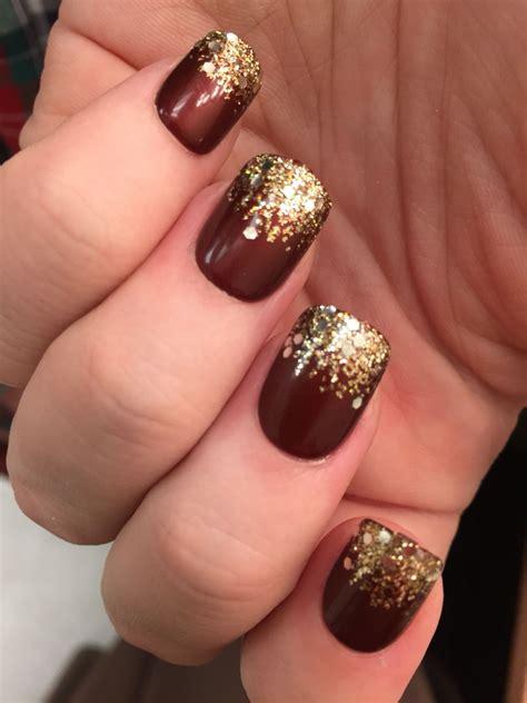 Maroon And Gold Nail Designs