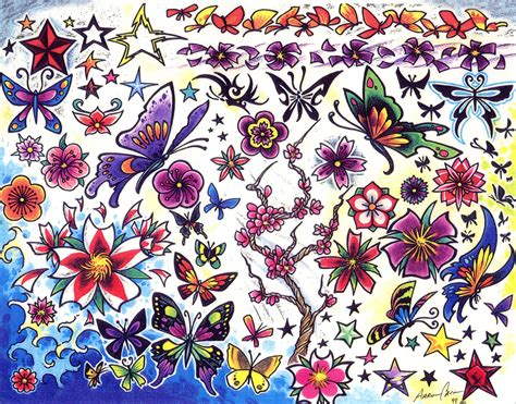 free butterfly tattoo designs to print flower tattoos