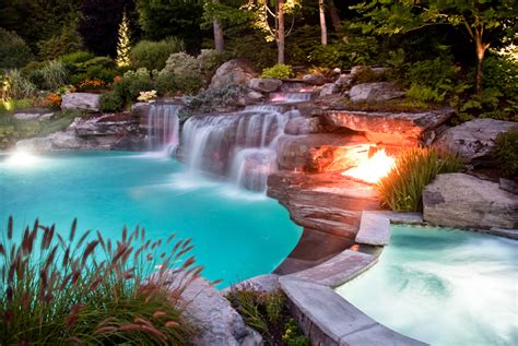 inground pool with waterfall custom swimming pool spa design ideas outdoor indoor nj