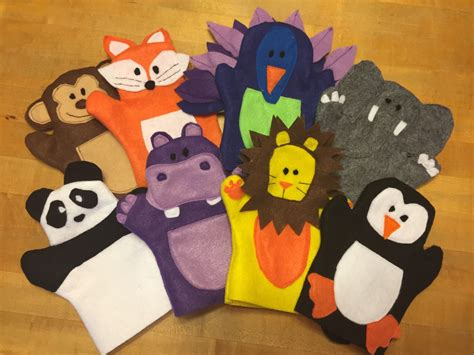 Handmade Puppets Patterns - zoo animal felt puppets tutorial and pattern puppet