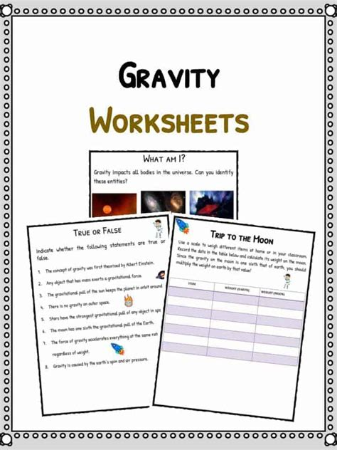 Gravity Worksheet by Gravity Facts Worksheets For Forces Of The