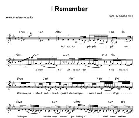 Keyshia Cole Audio I Remember by Keyshia Cole I Remember 악보 뮤직스코어 악보가게