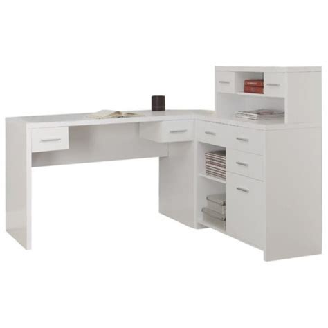Home Office L Shaped Desk With Hutch L Shaped Home Office Desk With Hutch In White I 7028