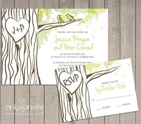 oak tree wedding invitation set personalized carved