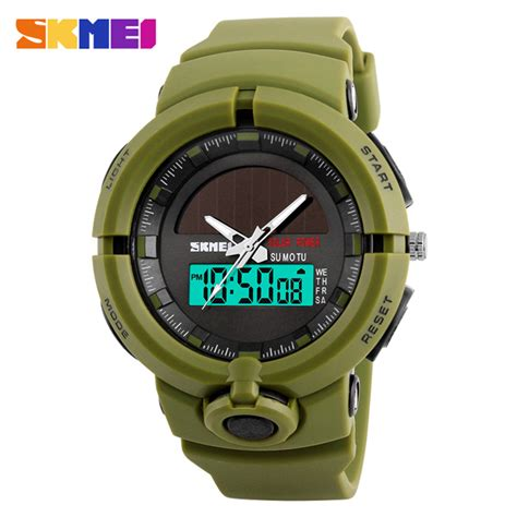 Murah Jam Tangan Pria Skmei Solar Sport Led Water Resist 50m Dg1126 skmei jam tangan digital analog pria 1275 army green jakartanotebook