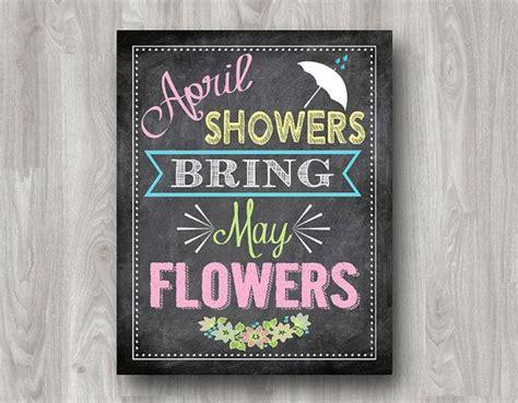 printable chalkboard flowers april showers bring may flowers digital download