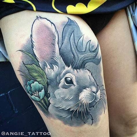 rabbit tattoo meaning geometric bunny outline bunny rabbit