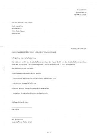 Muster Einladung Gesellschafterversammlung Muster Einladung Gesellschafterversammlung Animefc Info