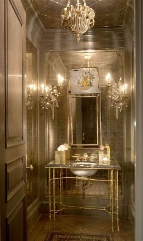 luxury glossy simple shape powder room vanity feat gold
