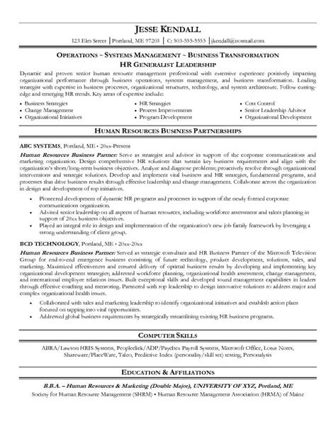 human resources manager resume sle resume sles for human resources manager human resources