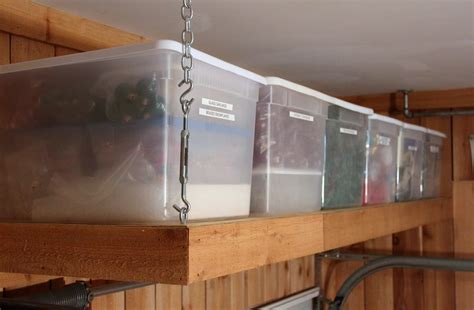 custom diy hanging overhead garage storage shelves with