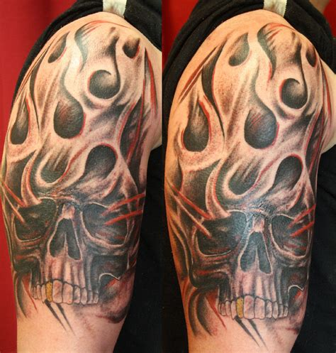 flaming skull tattoos 30 skull tattoos