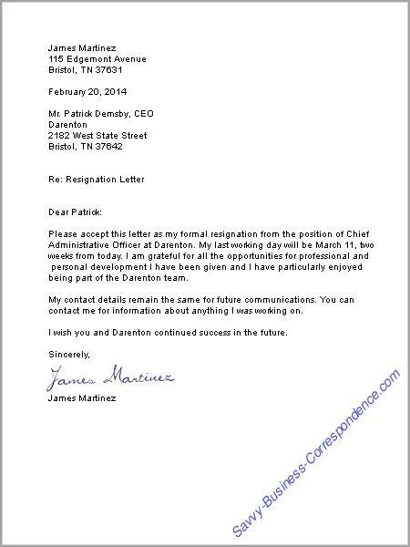 Resignation Letter Personal Growth Resignation Letter Format Business Resignation Letter Sle Design Chief Administrative