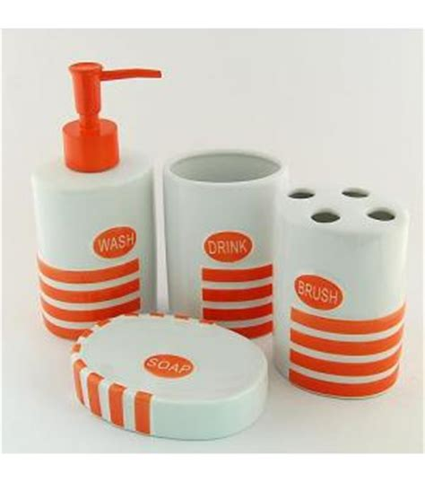 orange bathroom accessories set cute ceramic bath accessory set orange cy 2057 wholesale faucet e commerce