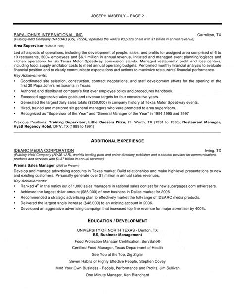 Restaurant Manager Resume Sle by Operations Manager Resume