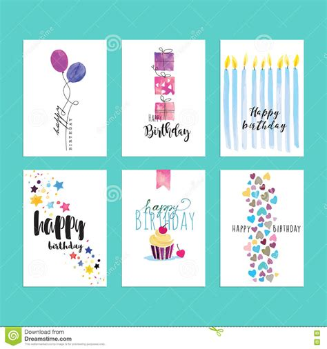birthday card template vector free set of birthday greeting card templates stock vector