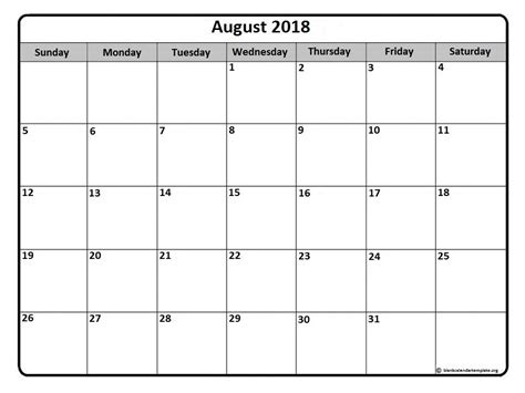 Printable 2018 Calendar By Month August 2018 Calendar August 2018 Calendar Printable
