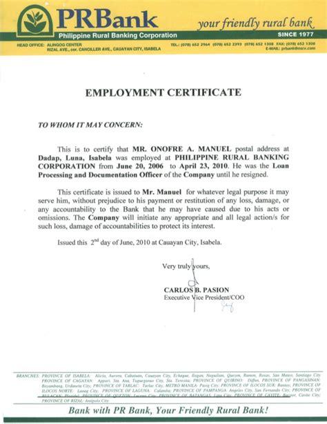 bank certificate employment certificate pr bank