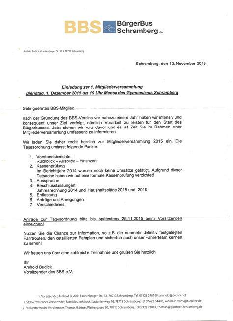 Einladung Mitgliederversammlung Muster Einladung Zur 1 Mitgliederversammlung B 252 Rgerbus Schramberg E V