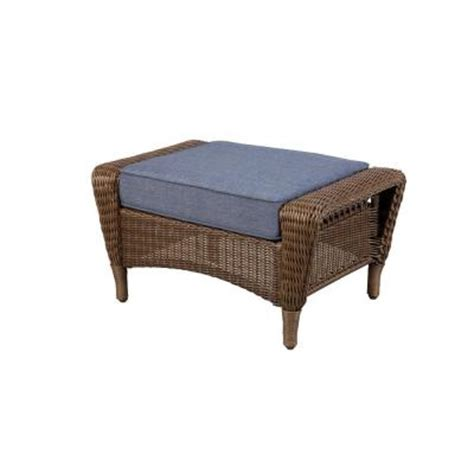 patio furniture ottoman hton bay spring haven brown all weather wicker patio