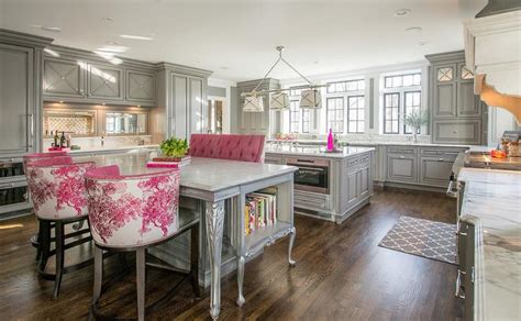 kitchen with two islands gray and pink kitchen with two islands lit by grosvenor