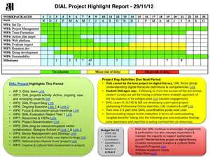 Highlight Report Template dial project highlight report 29 11 12 dial