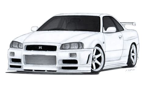 nissan skyline drawing nissan skyline gt r r34 drawing by vertualissimo