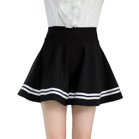 black high waisted a line striped skirts for womens