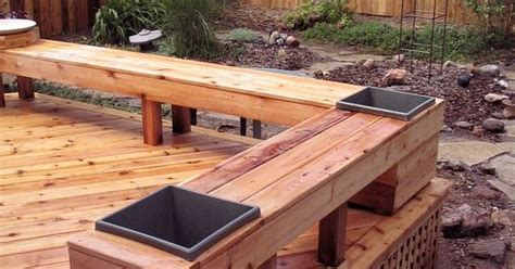 deck benches and planters cedar deck fence and bench with built in planters decks pinterest planters