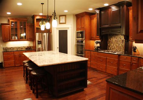 U Shaped Cherry Oak Kitchen Cabinet And Rectangular Dark Black And Brown Kitchen Cabinets