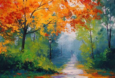 paintings trees autumn path paint bush l posts wallpapers