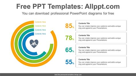 Overlapped Doughnut Charts Powerpoint Diagram Template Powerpoint Chart