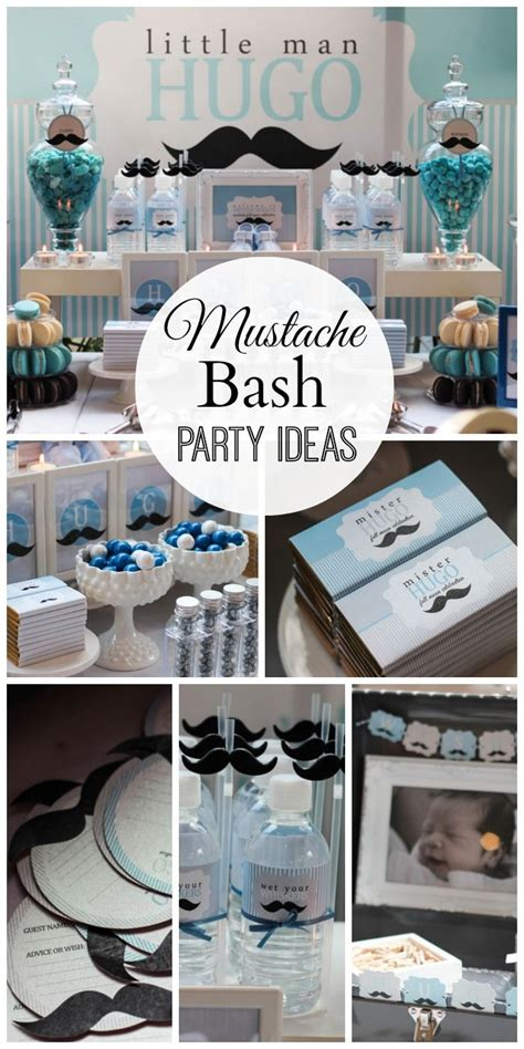 themes of the black boy blue silver white and mustache birthday quot hugo s