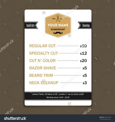 price list design template template examples