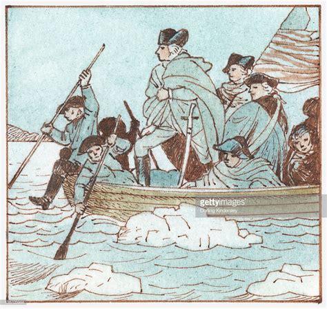 george washington on boat illustration of george washington in boat crossing the