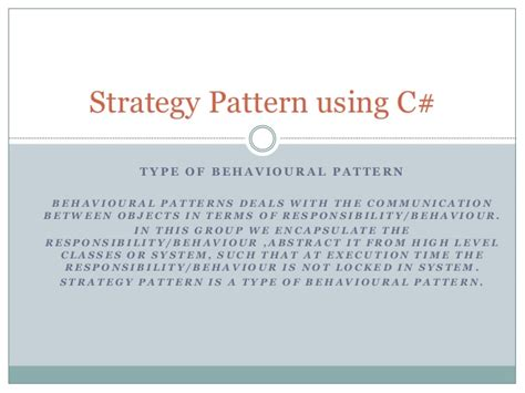 Pattern Maker Teaching Strategy | strategy pattern using c