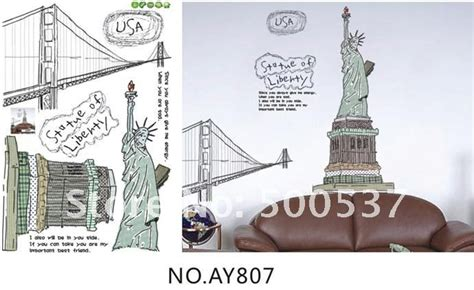 Statue Of Liberty Ay807 Stiker Dinding Wall Sticker Diskon buy statue of liberty wall stickers usa living room removable wall stickers ay807