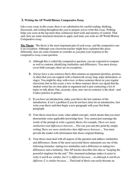 Ap World History Comparison Essay Rubric by Ap World History Ccot Essay Format