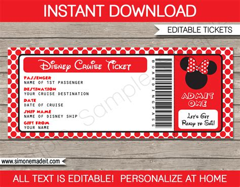 boarding card template disney cruise gift ticket template minnie mouse
