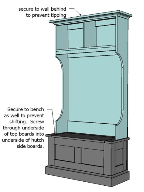 Foyer Storage Cabinet Hall Tree Bench Plans Diywoodplans