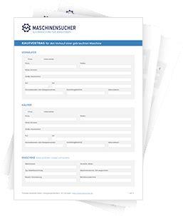 Kaufvertrag Auto Deutsch Franz Sisch by Muster Kaufvertrag Maschinensucher De