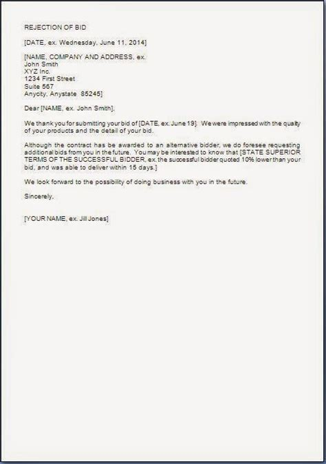 bid or proposal rejection letter to a company