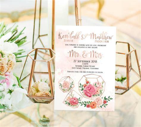 printable geometric stationery printed card digital printable files rose gold floral