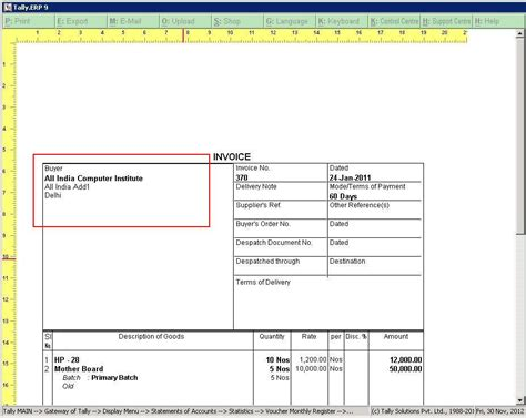 Invoice Tax Letterhead Tally Customization Tally Erp 9 Sales Support Implementation Customisation