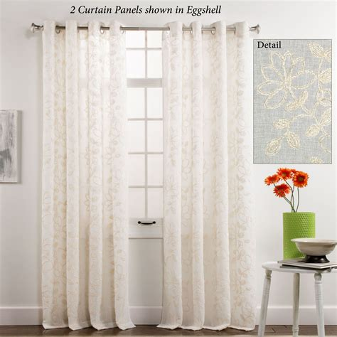 floral sheer curtain panels darcey floral semi sheer grommet curtain panels