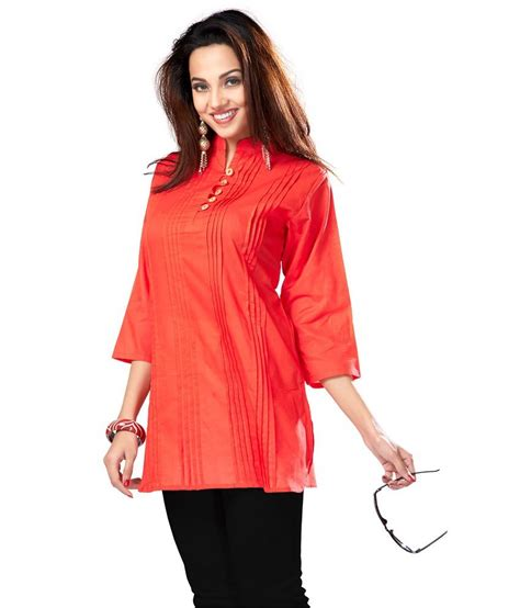 Cherry Tunic Square Terbaru2017 inddus collar orange cotton tunic with designer pleats available at snapdeal for rs 430