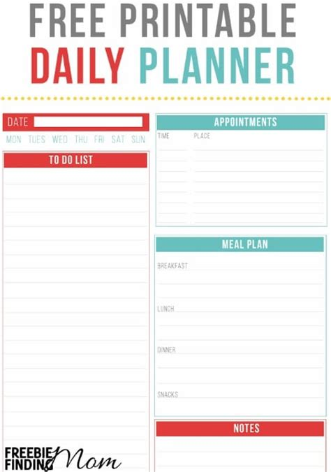 free printable daily planner pages 2016 free printable daily planner freebie finding mom