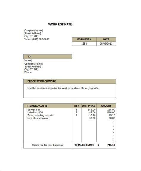 sample work estimate templates   documents