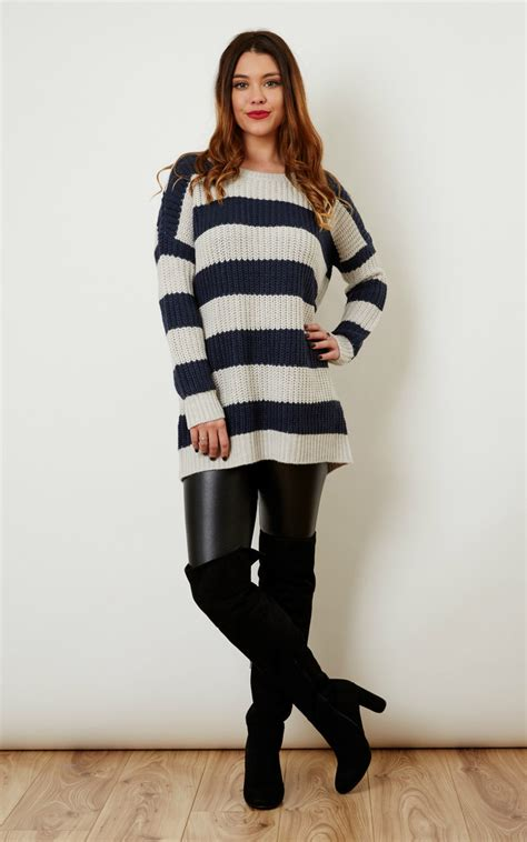 Az Maxi Stripey navy and light grey stripey knit silkfred